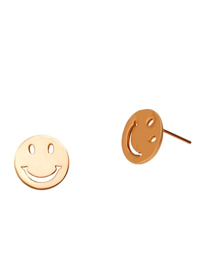 Gold Plated Smiley Face Stud Earrings