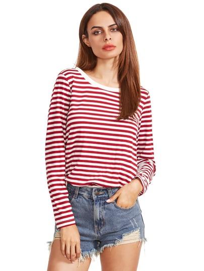 Borgogna a righe a maniche lunghe T-shirt
