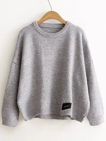 Pull col rond avec patch - gris clair