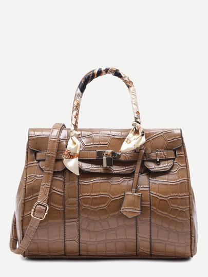 Khaki Croc Embossed PU Handbag With Strap