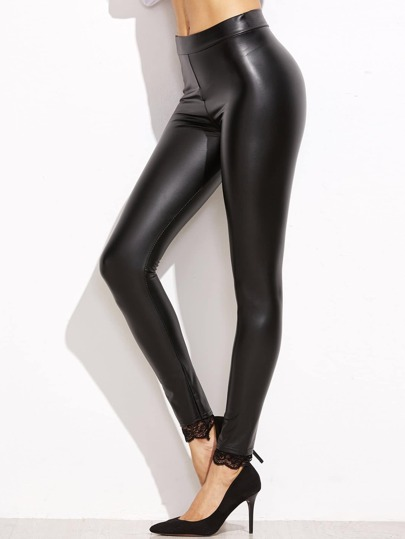 Black Lace Trim PU Leggings
