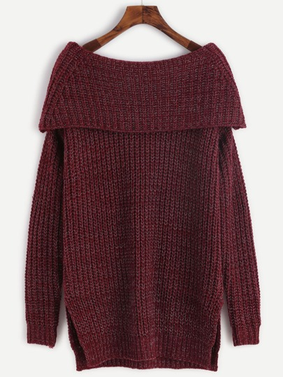 Burgundy Marled Knit Foldover Off The Shoulder Slit Sweater