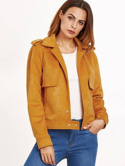 Mustard Suede Jacket With Gun Flap Detail