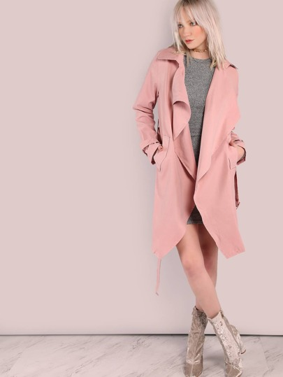 Oversized Notch Lapel Belted Cuff And Waist Trench Coat BLUSH