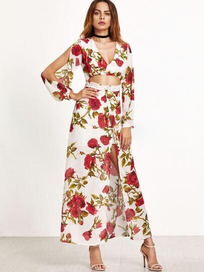 Florals Deep V Neck Cut Out Split Front Dress