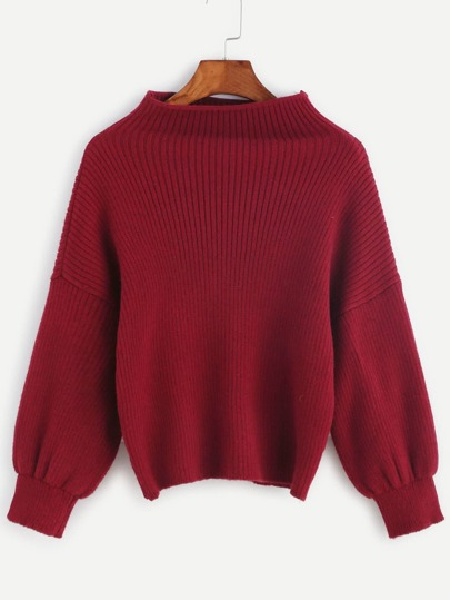 Red Ribbed Knit Funnel Neck Sweater