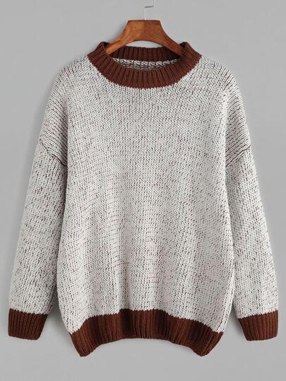 Contrast Trim Drop Shoulder Sweater
