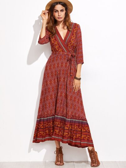 Burgundy Tribal Print Surplice Self Tie Dress