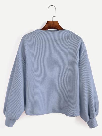 gerippte Pullover Laterne Ärmel-blau
