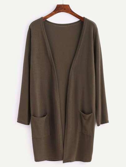Khaki Long Sleeve Pocket Coat