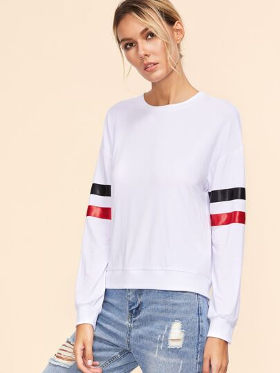White Drop Shoulder Striped Sleeve Sweatshirt
