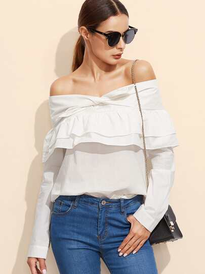 White Knotted Off The Shoulder Ruffle Top