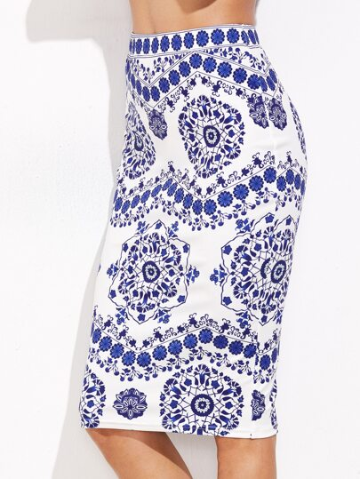 Blue And White Porcelain Print Pencil Skirt