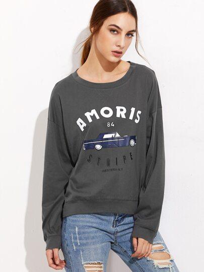 Dark Grey Letter Print Drop Shoulder Sweatshirt