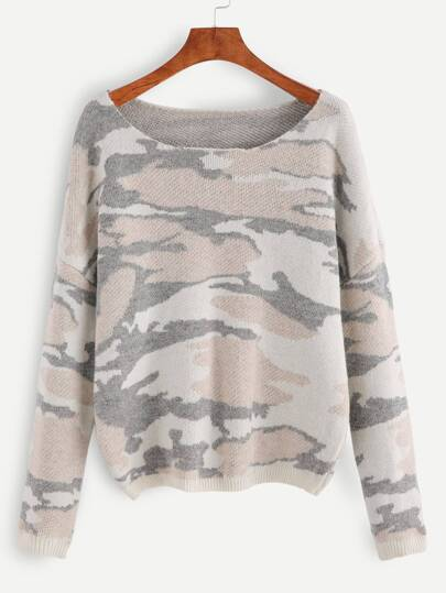 Pullover Drop Schulter Camo Muster-bunt