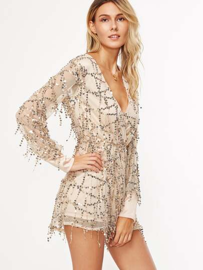 Gold Deep V Neck Sequin Romper