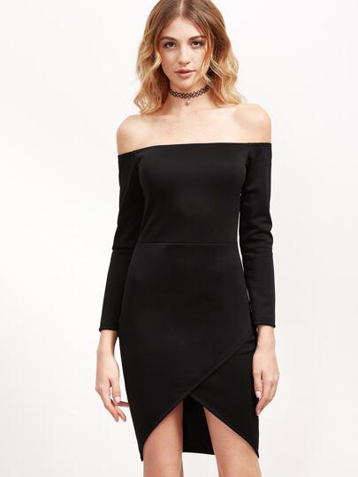 Black Off The Shoulder Crossover Front Pencil Dress