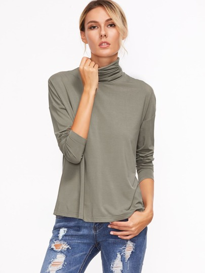 Grey Cowl Neck Drop Shoulder T-shirt