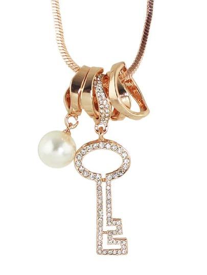 Collier longue en strass avec pendentif forme de clé - rose doré
