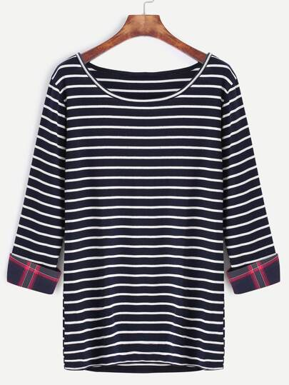 Navy Striped Contrast Plaid Cuff T-Shirt