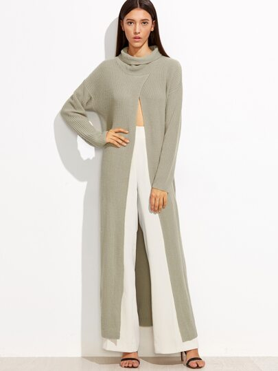 Grey Funnel Neck Open Front High Slit Long Sweater