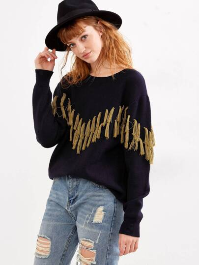 Navy Contrast Fringe Embellished Drop Shoulder Sweater