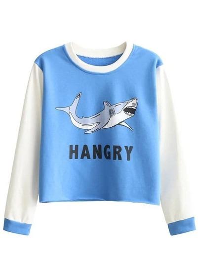 Blue Printed Contrast Sleeve Sweatshirt