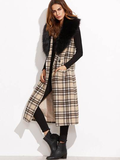 Khaki Plaid Longline Vest With Faux Fur Collar