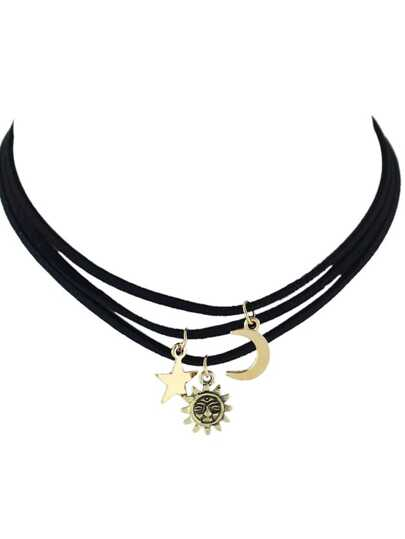 Moon Sun Star Pendant Black Pu Suede Choker Necklace