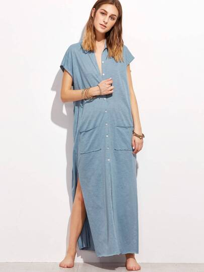 Raw Edge Side Slit Button Up Slub Dress