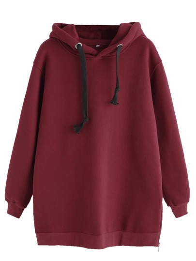 Burgundy Zipper Side Drawstring Hooded Sweatshirt