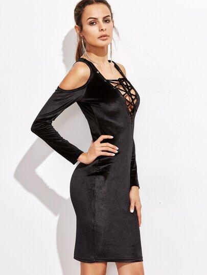 Black Lace Up V Neck Cold Shoulder Dress