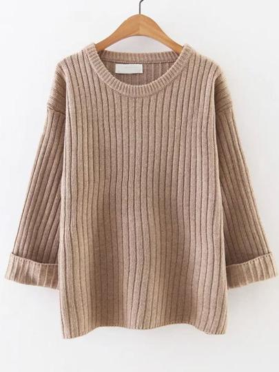 Pull tricoté à nervures poignet enroulé - kaki