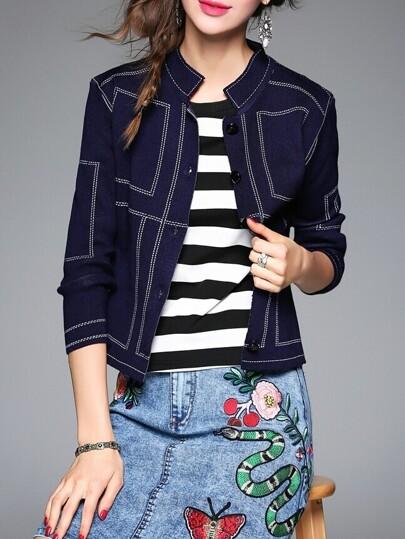 Abrigo corto con cuello redondo - azul