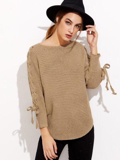 Khaki Lace Up Sleeve Curved Hem Sweater
