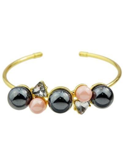 Brazalete fino con perlas de imitación
