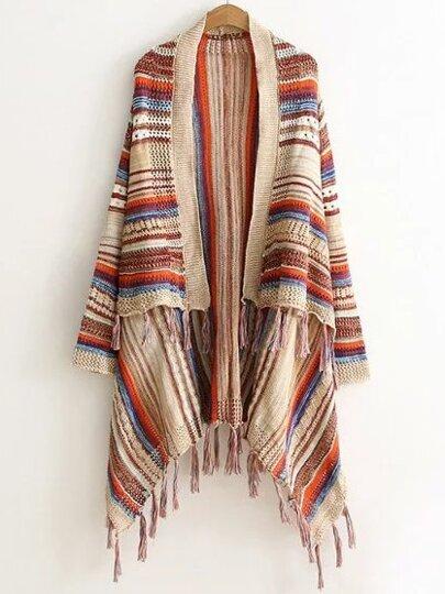 Multicolor Striped Fringe Hem Poncho Sweater