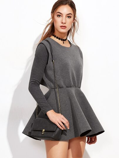 Dark Grey Top With Wrap Back A-Line Dress