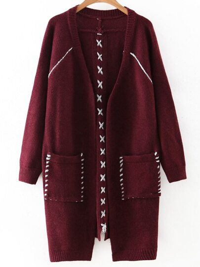 Burgundy Lace Up Detail Pocket Long Sweater Coat