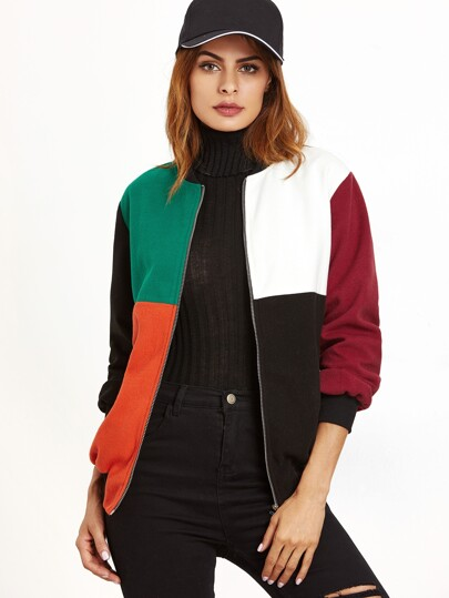 Color Block Zip Up Bomber Jacket