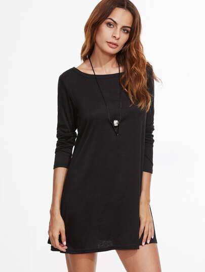 Black Long Sleeve Tee Dress