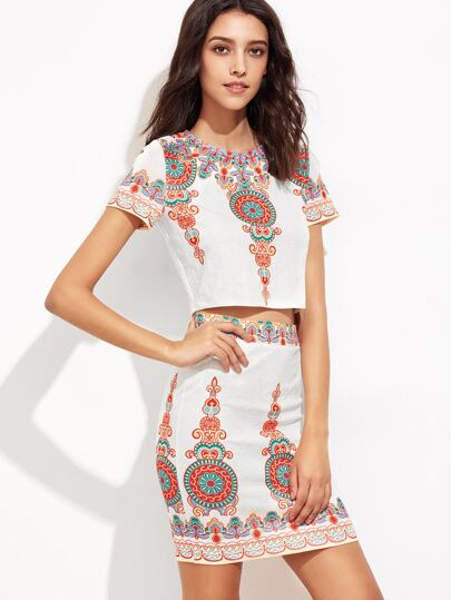 White Vintage Print Textured Top With Skirt