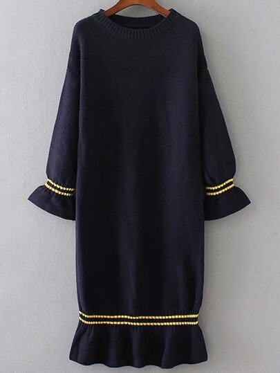 Navy Bell Sleeve Ruffle Hem Knit Dress