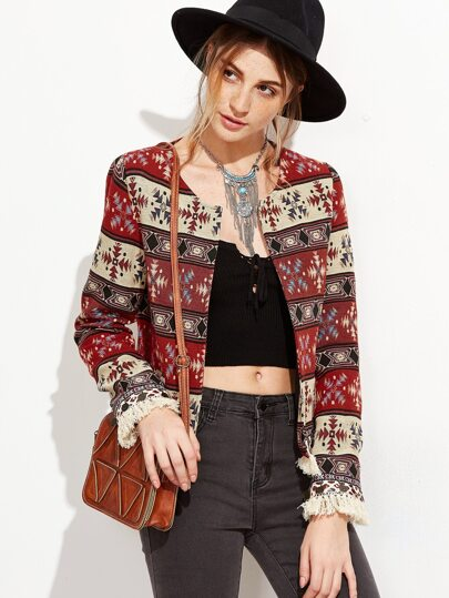 Multicolor Tribal Pattern Fringe Trim Blazer