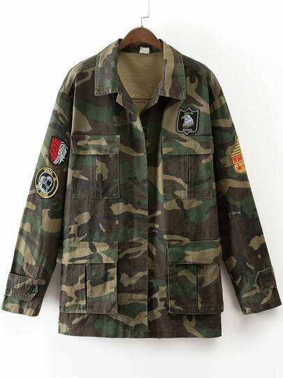 Army Green Embroidery Front Pocket Camouflage Coat