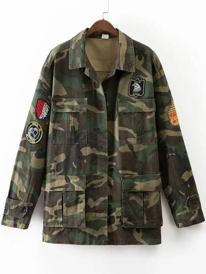 Veste camouflage en broderie avec poche - vert armée