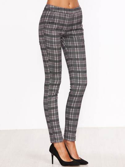 Grey Plaid Skinny Pants