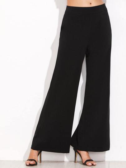 Black Zip Side Wide Leg Pants