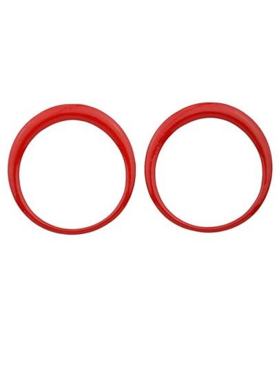 Red Enamel Big Round Stud Earrings