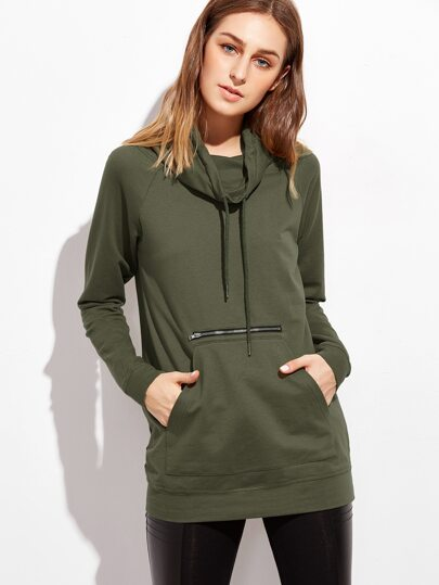 Olive Green Funnel Neck Raglan Sleeve Sweatshirt